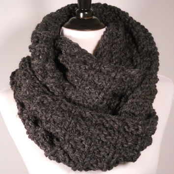 Soft Wool Chunky Knit Infinity Scarf, Knit Cowl, Knit Snood, Chunky Knit Scarf, Charcoal Black - Ready to Ship