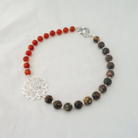 Carnelian and Jasper Necklace, Handmade Carnelian and Jasper Necklace, Statement Necklace, Gemstone Statement necklace