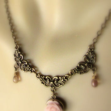 Vintage Flower Necklace Roses necklace Romantic Antique necklace Vintage Inspired pink necklace