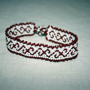 Native American Bracelet Huichol Bracelet Beadwork Huichol Art Mexican Jewelry White Brown Unisex  Hippie Jewelry Hippie Bracelet Authentic