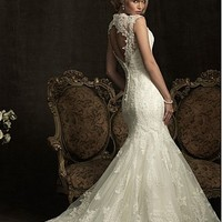 Buy Elegant Exquisite Tulle Mermaid V-neck Slightly Wedding Dress