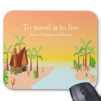 Sunset over a tropical island with quote mousepad