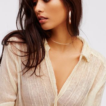 Free People Crinkle Lurex Twist Top