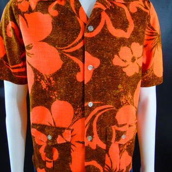 Tohki Hawaii Barkcloth Hawaiian Shirt Mod Epaulettes Vintage 60s Mens Aloha Fashion Camp Jacket Shirt