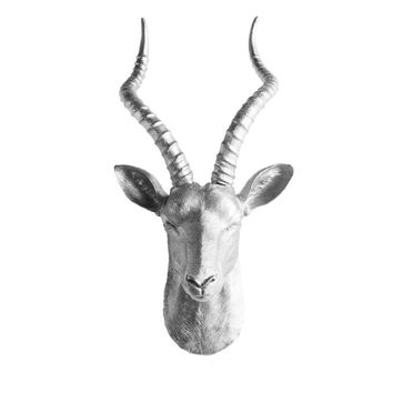 The Maasai | Large Antelope Gazelle Head | Faux Taxidermy | Silver Resin