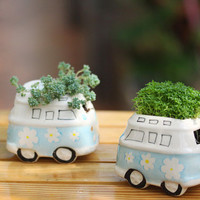 Car Ceramic Air Plant Planter Herb Container Succulent Pot Garden Decoration Cute