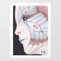 Butterfly Girl #2 Art Print by Drawings By LAM