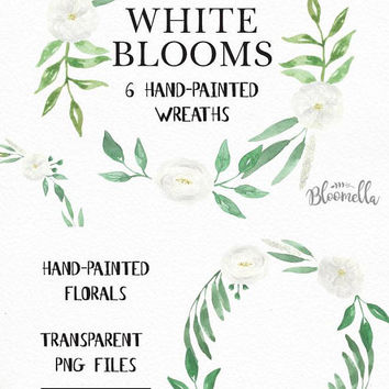 6 Watercolour Wedding White Floral Wreaths Clipart INSTANT DOWNLOAD Green Leaves Hand-painted Blooms Garlands Clip Art PNGs Digital Leaf