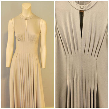 Vintage 1960's Silver Formal Dress Floor Length Maxi Dress Gown Sleeveless Pleated Midcentury Slinky by Rona Small Groovy Elegant Keyhole