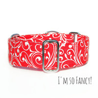 Regal Red Elegant Christmas Dog Collar, Martingale, Buckle or Tag/House Collar. Italian Greyhound, Whippet, Boxer, Doberman, Wide Great Dane