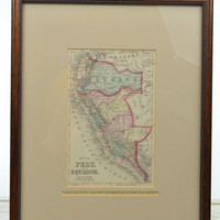 Original Hand Colored 1876 Map of Peru Ecuador Cartouche Title Framed