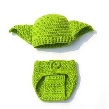 Handmade Knitted Baby Star Wars Yoda Costume Outfit Newborn Photography Props Infant Yoda Clothes H264