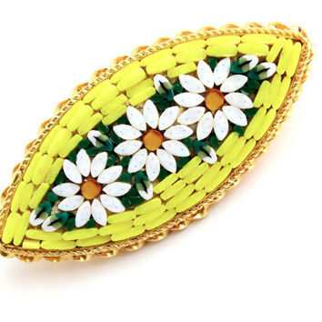 Vintage Micro Mosaic Yellow Flower Brooch -  Gold Tone Daisy Costume Jewelry Pin / Floral Tiles