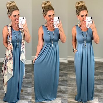 I'll Be By the Pool Maxi Dress - Steel Blue