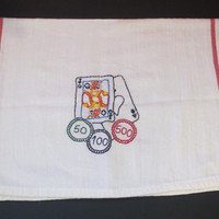 One Eyed Jacks, Twin Peaks inspired kitchen towel. Hand Embroidered Playing Card and Cherries designs. SALE.