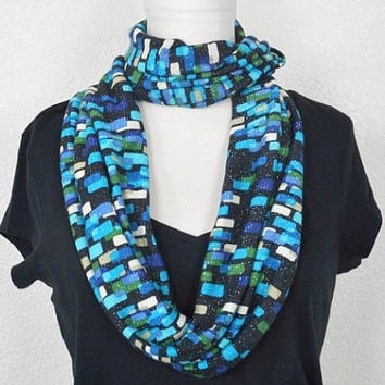 Christmas in July Sale Turquoise Infinity Scarf Multicolored Abstract Black Blue Purple Olive Green - Circle Scarf - Cowl Scarf