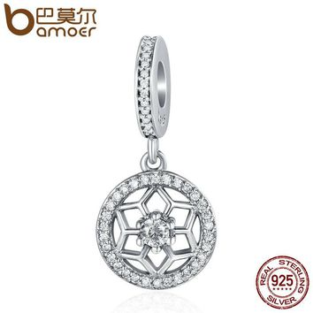 Genuine 925 Sterling Silver Shimmering Snowflake Clear CZ Beads Pendant fit Women Bracelet & Necklaces Jewelry SCC265