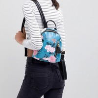 Typo Teal Floral Backpack at asos.com