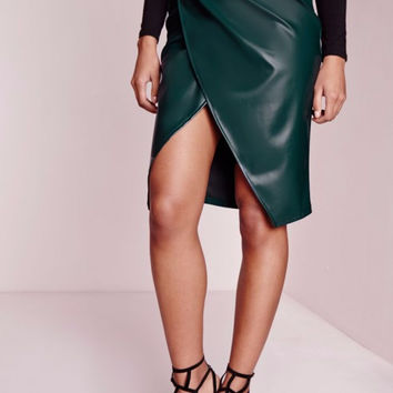 Mahogany Faux Leather Skirt