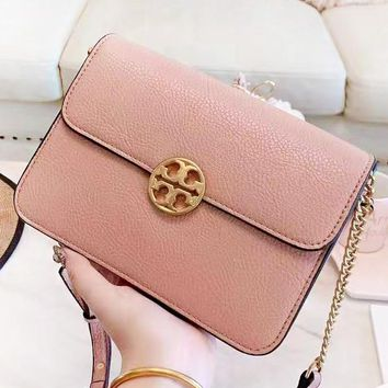 Tory Burch Fashion New Leather Chain Shopping Leisure Shoulder Bag Women Pink