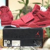 [Free Shipping ]Nike X Kaws Air Jordan Retro 4 Graffiti Cool Red   Basketball Sneaker