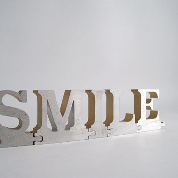 vintage smile puzzle piece metal letter sign home decor word saying text type font personalized metal