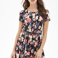 FOREVER 21 Belted Floral Print Dress Black/Coral
