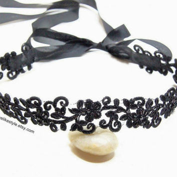 Black Beaded Embroidery Flower Lace Head Band, Head Tie, Head Piece, Bridal Hair Accessories, Bridesmaid Headband