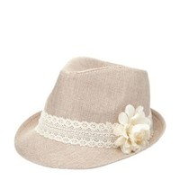 Crochet & Flower Straw Fedora Hat by Charlotte Russe - Tan Combo