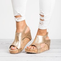 Cut Out Wedges Sandals- Gold