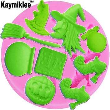 Kaymiklee M002 Witch & Hat & Broom & Book & Pumpkin & Shoes Shape Molds For Chocolate Fondant Soap Forms Cake Tools