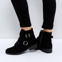 Qupid Buckle Strap Flat Boot at asos.com