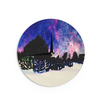 "Theresa Giolzetti ""First Snow"" Purple Blue Wall Clock"