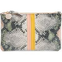 Clare V. Stripe Snake Embossed Leather Wallet Clutch | Nordstrom