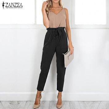 2017 Autumn ZANZEA Women Pants Ladies Casual Ankle Length High Waist Harem Pants Pockets Belt Solid