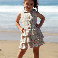 Pink Floral Print Drop Waist Casual Dress w 3 Tier Layer Ruffle Skirt Spring & Summer (Girls 2T to Size 8)