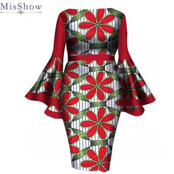 Misshow Ethnic Plus Size Women Floral Dress African Flare Sleeve Printed Dress for Women Indie Folk Bodycon Dress Robe Femme