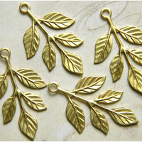 Raw Brass Leaf Leaves Stamping Drop Embellishment 23mm x 37mm - 4 pcs.