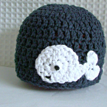 nautical beanie with whale applique, preppy crochet hat with whale, whale hat, baby, toddler, child, teen, adult