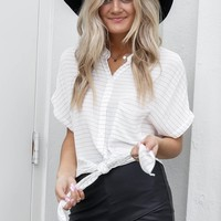 Until Now Gray Striped Button Down Top