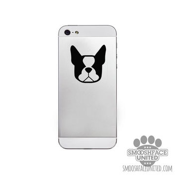"Boston Terriers! Dog decals - Set of 2 mini vinyl dog stickers - 2"" Boston face silhouette - great phone decal!"