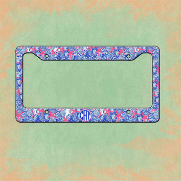 Monogrammed License Plate Frame -  Lilly Pulitzer Inspired , Personalized Monogrammed License Plate Car Tag