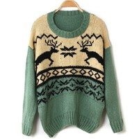 Green Reindeer Knit Sweater BBCFBE from MegaFashion