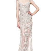 Reem Acra Embroidered Illusion Cap Sleeve Gown by Reem Acra - Moda Operandi