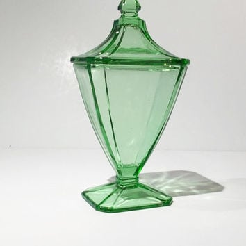 Green Depression Glass Candy Jar,Pedestal Candy Jar
