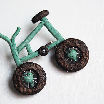 Bicycle brooch pin turquoise bronze vintage