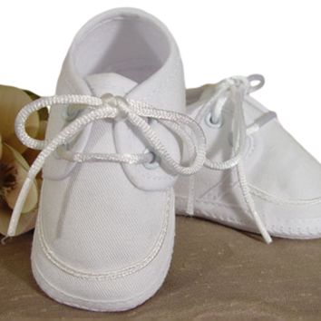 Gabardine Oxford Bootie Dress Shoes in White Baby Boys 0-12M