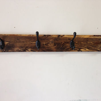 Rustic wood coat hook rack 4 hooks - reclaimed wood, vintage, distressed, multiple colors and sizes available