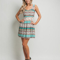 Cute Crocheted Waist Band Paisley / Floral Print Green Sun Dress - Spring Style