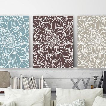 FLOWER Wall Art, BLUE BROWN Bedroom Decor Canvas or Prints  Bathroom Decor, Floral Bedroom Pictures, Set of 3, Matching Home Decor Pictures